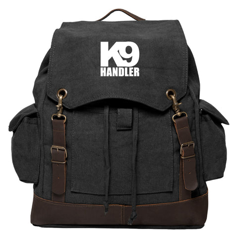 K9 Handler Vintage Canvas Rucksack Backpack with Leather Straps