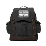 No Stupid Question Only Stupid People Canvas Rucksack Backpack w/ Leather Straps