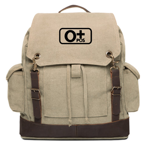 Blood Type O+ Pos Vintage Cotton Canvas Rucksack Backpack With Leather Straps