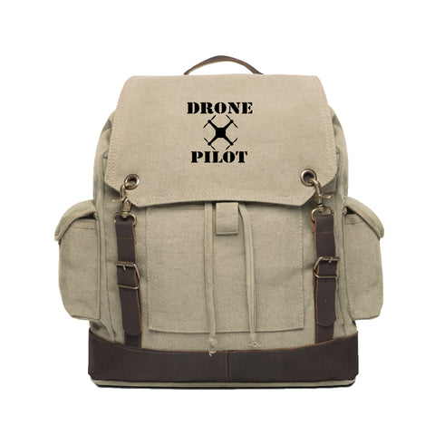 Drone Pilot Vintage Canvas Rucksack Backpack with Leather Straps