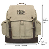 Because F U Thats Why Vintage Canvas Rucksack Backpack with Leather Straps