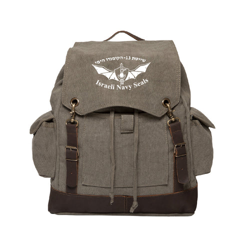 Israeli Navy Seals Vintage Canvas Rucksack Backpack with Leather Straps