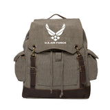 US Air Force Vintage Canvas Rucksack Backpack with Leather Straps