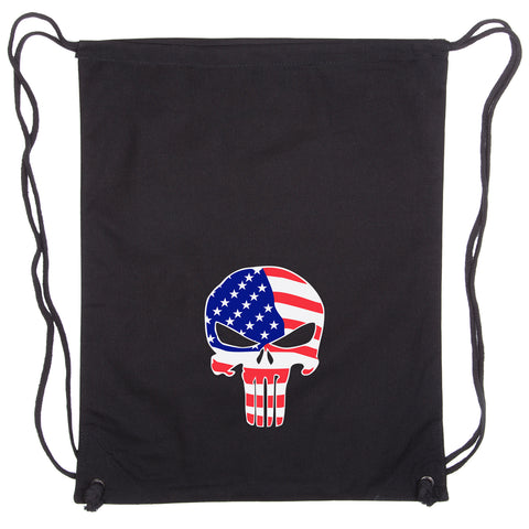 American Flag Punisher Skull Eco-Friendly Reusable Cotton Canvas Draw String Bag