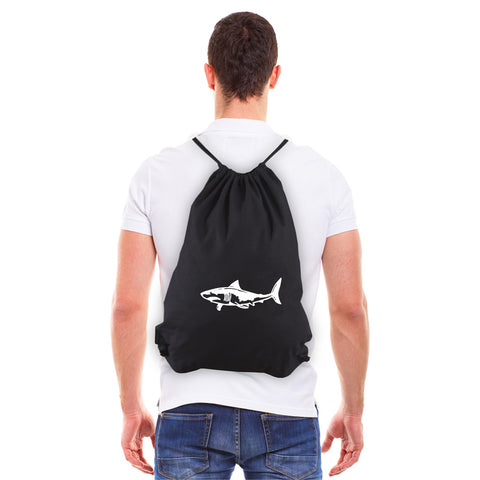 Great White Shark Silhouette Eco-friendly Reusable Cotton Canvas Draw String Bag