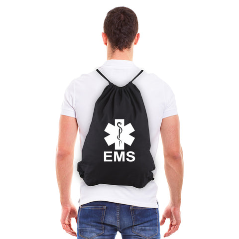 EMS Emergency Medical Services Eco-Friendly Cotton Canvas Draw String Bag