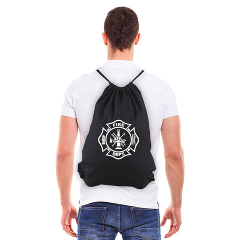 Fire Department Maltese Cross Eco-Friendly Cotton Canvas Draw String Bag