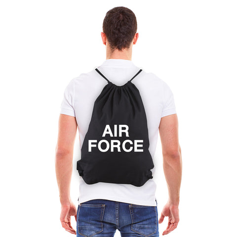Air Force USAF Text Eco-Friendly Reusable Cotton Canvas Draw String Bag
