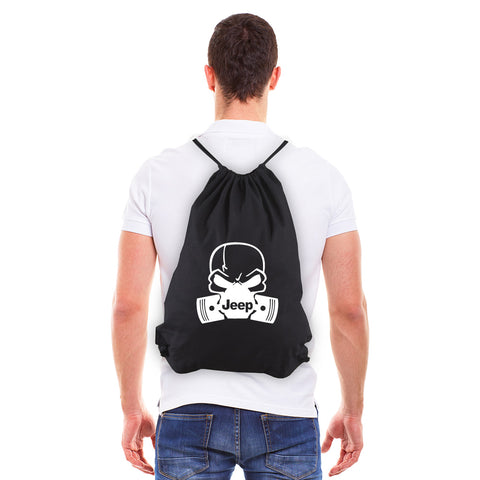 Deadly Skull and Pistons Jeep Eco-Friendly Cotton Canvas Draw String Bag