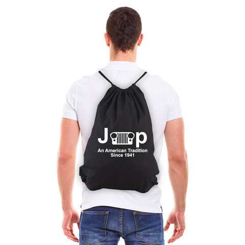 Jeep An American Tradition Eco-Friendly Reusable Canvas Draw String Gym Bag Sack