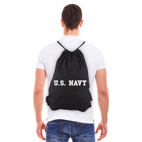 US NAVY Text Eco-Friendly Reusable Cotton Canvas Draw String Bag