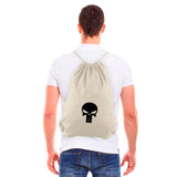 The Punisher Skull Eco-Friendly Reusable Cotton Canvas Draw String Gym Bag Sack