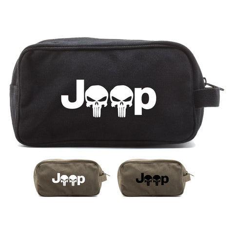 Jeep Wrangler Renegade Cherokee Punisher Skull Toiletry Bag Travel Shaving Kit