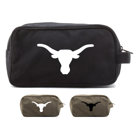 Texas Longhorn Canvas Shower Kit Dual Compartment Travel Toiletry Bag