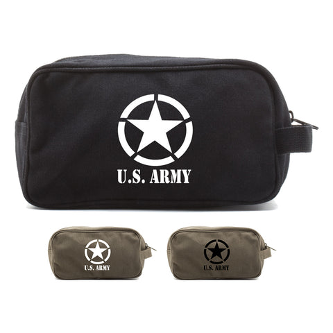 U.S. Army Star Military Canvas Shower Kit Dual Compartment Travel Toiletry Bag