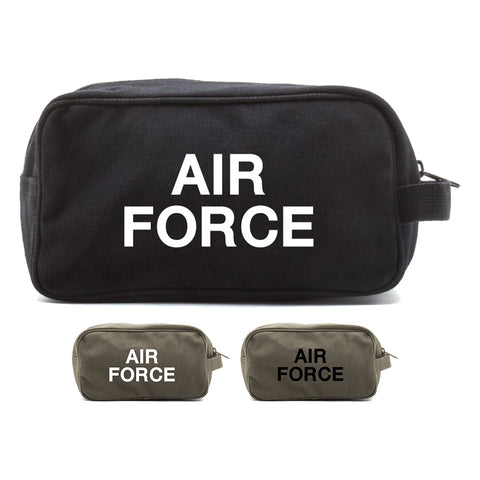 Air Force USAF Text Canvas Shower Kit Travel Toiletry Bag Case