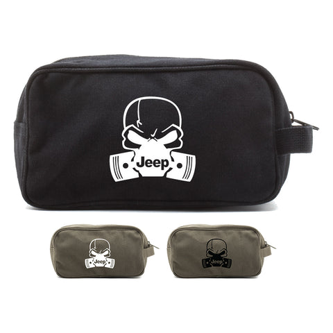 Deadly Skull and Pistons Jeep Canvas Dual Compartment Travel Toiletry Bag