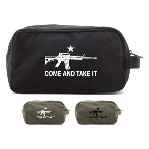Come and Take it M4 Assault Rifle Canvas Shower Kit Travel Toiletry Bag Case