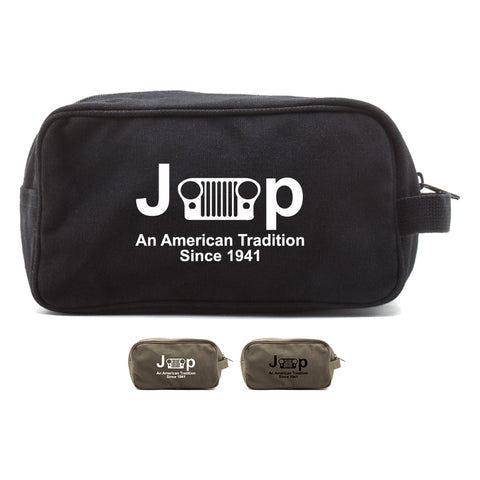 Jeep An American Tradition Canvas Dual Compartment Travel Toiletry Bag