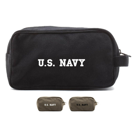 US NAVY Text Canvas Shower Kit Travel Toiletry Bag Case