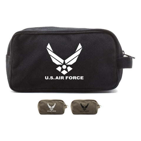 US Air Force Canvas Shower Kit Dual Compartment Travel Toiletry Bag