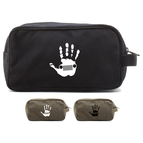 Jeep Wave Hand High Five Canvas Shower Kit Dual Compartment Travel Toiletry Bag