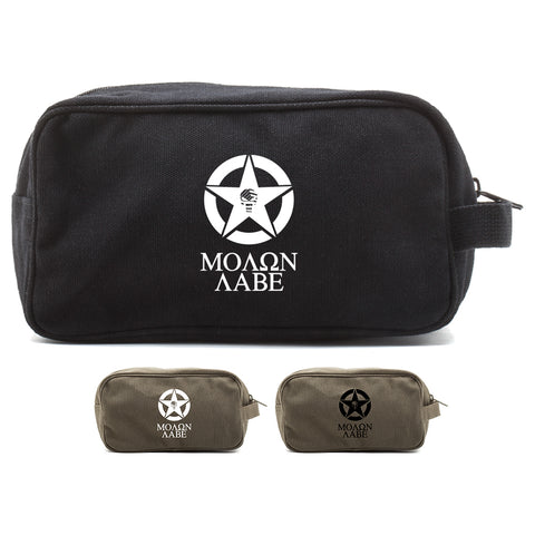 Molon Labe Punisher US Flag Skull Star Dual Compartment Travel Toiletry Bag