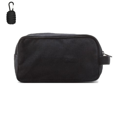 Canvas Dual Compartment Travel Toiletry Bag, with FREE Paracord Survival Tool