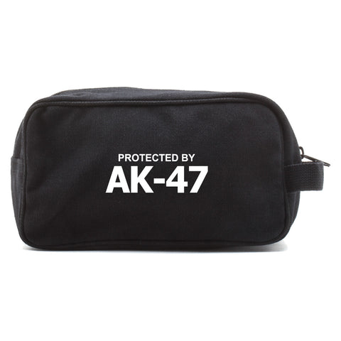 Protected by AK47 Canvas Dual Compartment Shaving Kit Travel Toiletry Bag Case