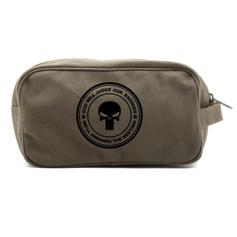 Punisher Skull God Will Judge Our Enemies Canvas Shower Kit Travel Toiletry Bag