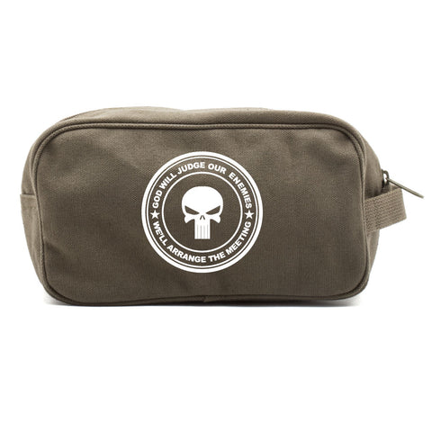 Punisher Skull God Will Judge Our Enemies Canvas Dual Compartment Toiletry Bag