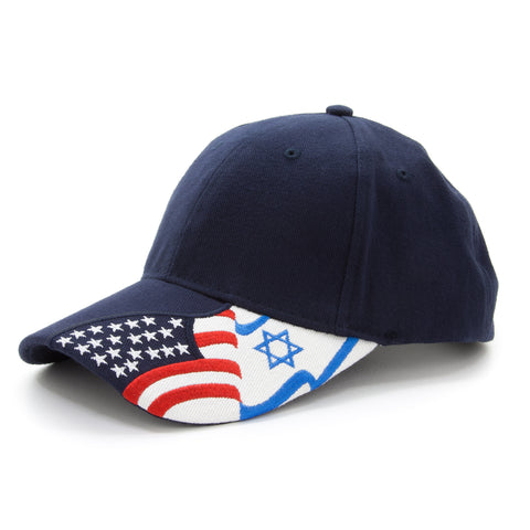 American Flag and Israeli flags Embroidered on Adjustable Baseball Cap Blue Hat