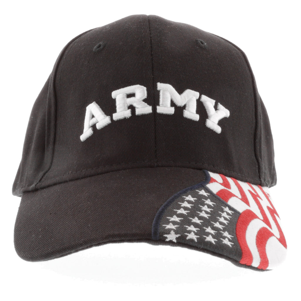 1d512000a9916 ARMY Embroidered Baseball Cap American Flag USA - BLACK Hat – Army ...