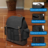 Army Text Military Vintage Canvas Rucksack Backpack with Leather Straps
