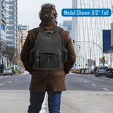 Protected by AK-47 Vintage Canvas Rucksack Backpack with Leather Straps