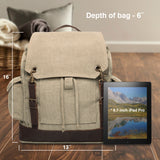 Go Topless Jeep Offroad Vintage Canvas Rucksack Backpack With Leather Straps