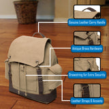 High Five Jeep Vintage Canvas Rucksack Backpack with Leather Straps