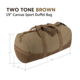 "TX (Texas) Oval Bumper Sticker Two Tone Canvas 19"" Duffel Bag with Brown Bottom"