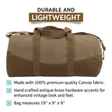 "Two Tone Brown 19"" Canvas Sport Duffel Bag with FREE Paracord Survival Multitool"