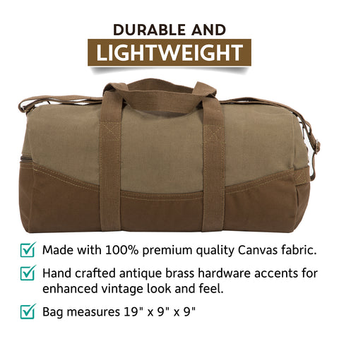"""4f0b2b46a Two Tone Brown 19"""" Canvas Sport Duffel Bag with FREE Paracord Survival  Multitool"""