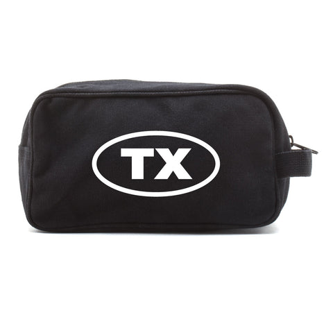 Texas Oval Bumper Sticker Canvas Shower Kit Travel Toiletry Bag Case
