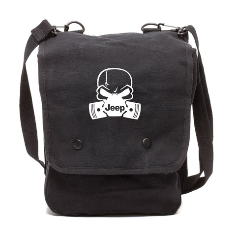 Deadly Skull and Pistons Jeep Canvas Crossbody Travel Map Bag Case