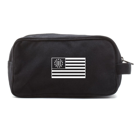 Three Percenter American Flag Canvas Shower Kit Travel Toiletry Bag Case