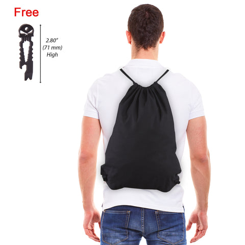 Eco-friendly Reusable Drawstring Bag with Free Punisher Skull Multitool