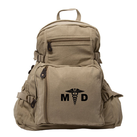 MD Medical Doctor Army  Heavyweight Canvas Backpack Bag