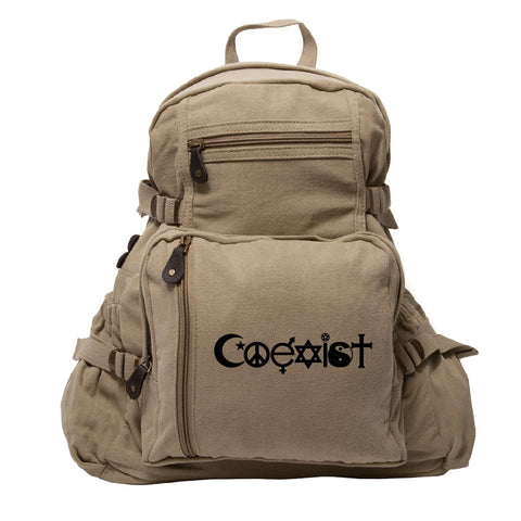 Coexist Army Sport Heavyweight Canvas Backpack Bag