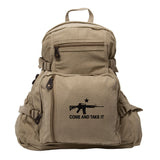 Come and Take it M4 Assault Rifle Army Sport Heavyweight Canvas Backpack Bag