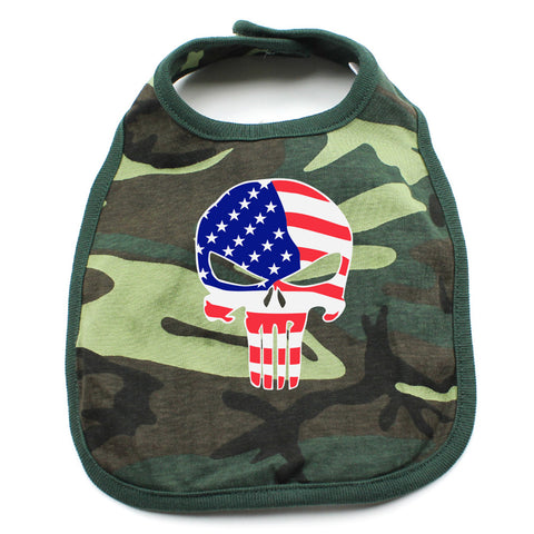 American Flag Punisher Skull Newborn Baby Bib,