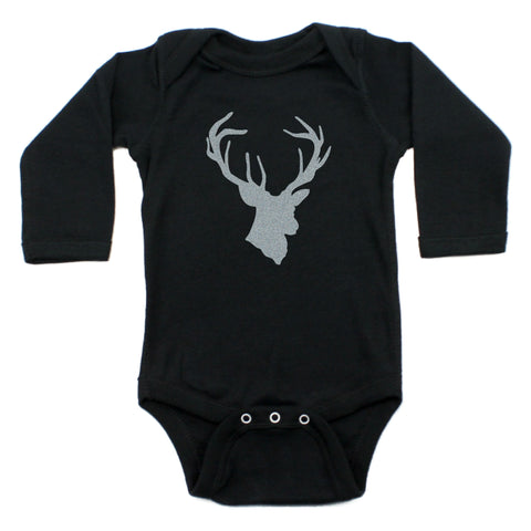 Crazy Baby Clothing DEER HEAD Hunting Buck 100% Cotton Long Sleeve Bodysuit
