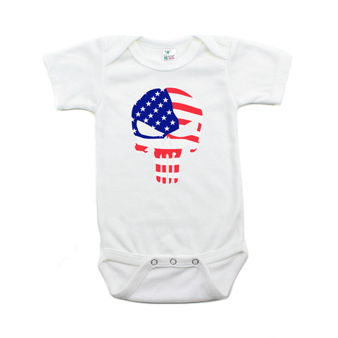 American Flag Punisher Skull Short Sleeve Infant Bodysuit